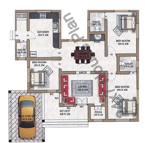 Simple 3 bedroom low cost kerala home plan with pooja room for 3 bedroom low cost house plans