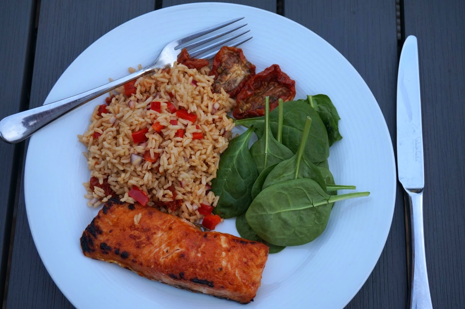 salmon cous cous and spinach
