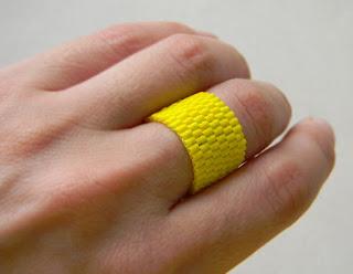 купить желтое кольцо из бисера украшения от анабель россия минимализм