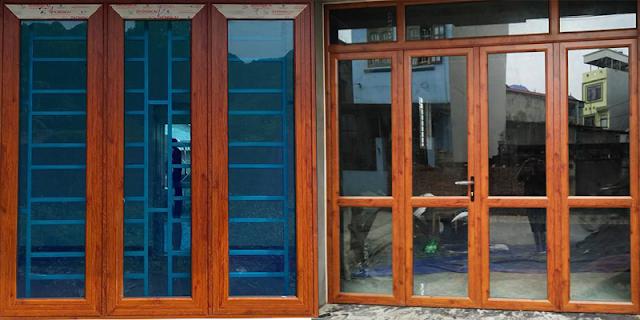 Hình ảnh cửa sổ kính khung nhôm AG và cửa đi kính 4 cánh nhôm AG