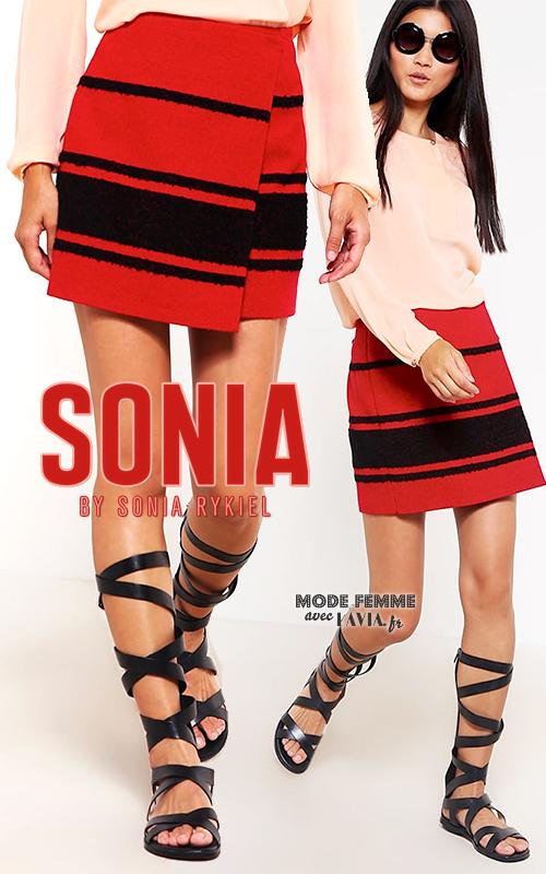 Mini jupe portefeuille noire et rouge SONIA by SONIA RYKIEL