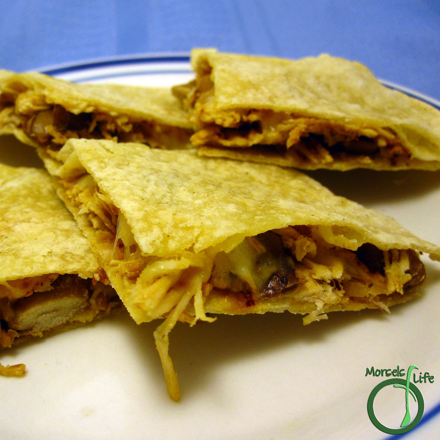 Morsels of Life - Chicken Bean Quesadillas - Cheesy chicken quesadillas with beans and a bit of spice.