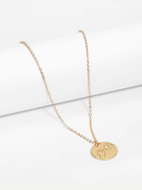 Hand Engraved Round Pendant Necklace