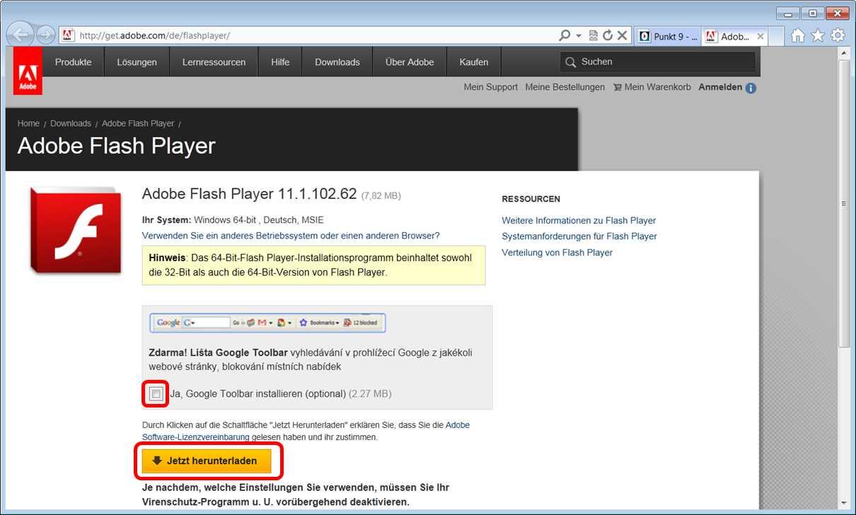 pceinsteiger flash player f r internet explorer 9 installieren. Black Bedroom Furniture Sets. Home Design Ideas