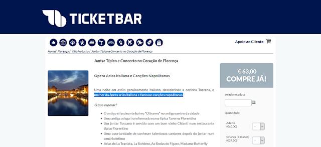 Ticketbar para ingressos para um jantar típico e concerto no coração de Florença