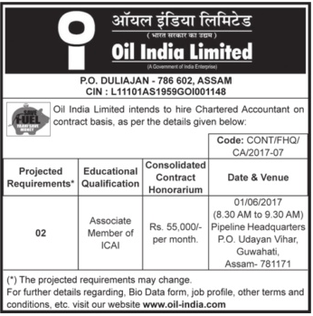 Oil India Limited Recruitment 2017 oil-india.com Walk-In Interview