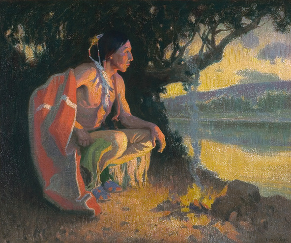 Eanger  Irving  Couse  Indian   rave  by  a  Campfire C