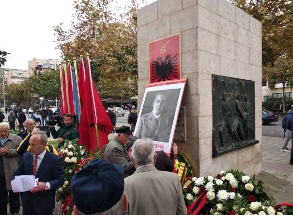 Communists paid homage in Tirana with Enver Hoxha fotos and the fist