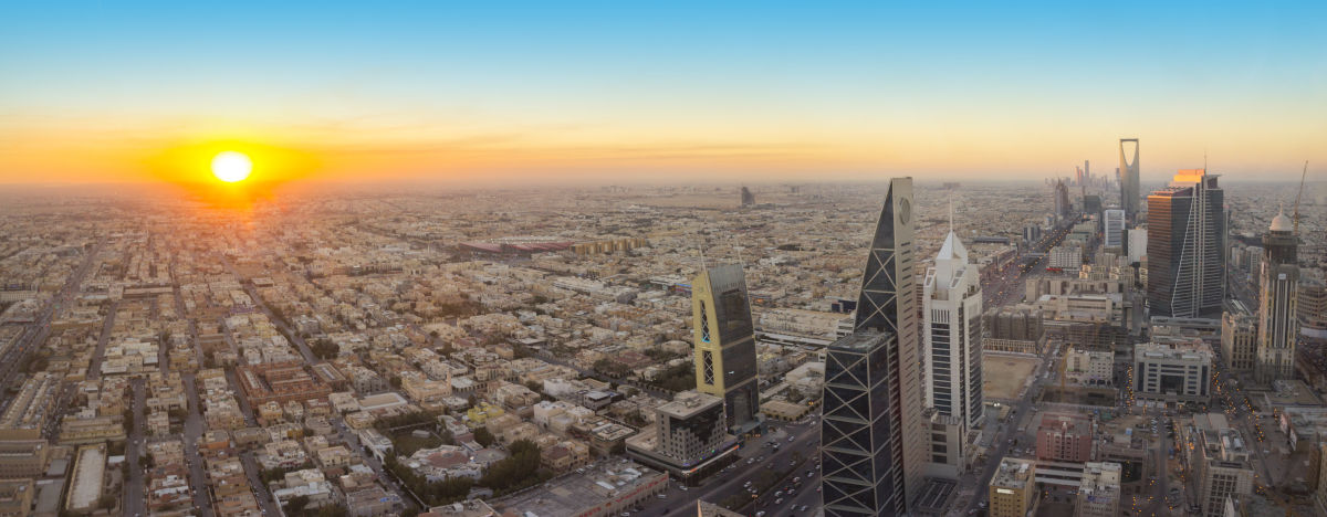 A gorgeous sunset over the bustling urban capital of Riyadh, Saudi Arabia.