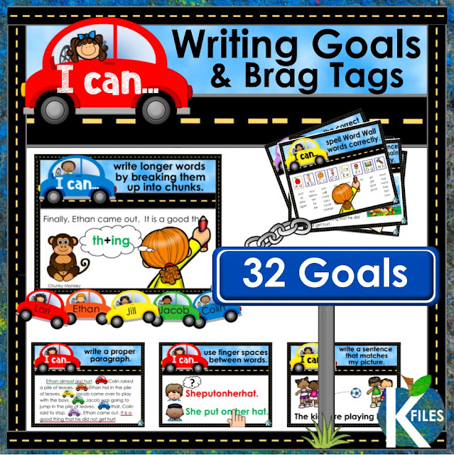 Writing Goal Posters and Brag Tag Set