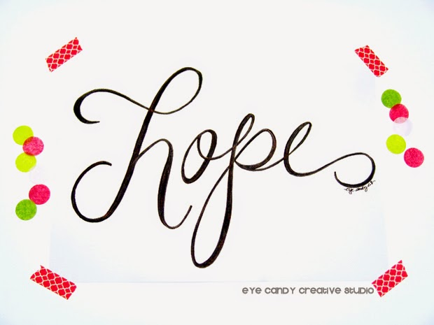 one little word art print, hope, #OLW, hand lettering, custom art