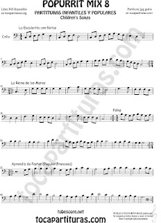 Mix 8 Partitura de Violonchelo La Escaleritas con Notas, La Reina de los Mares, Polka Popurrí 8 Sheet Music for Cello Music Scores