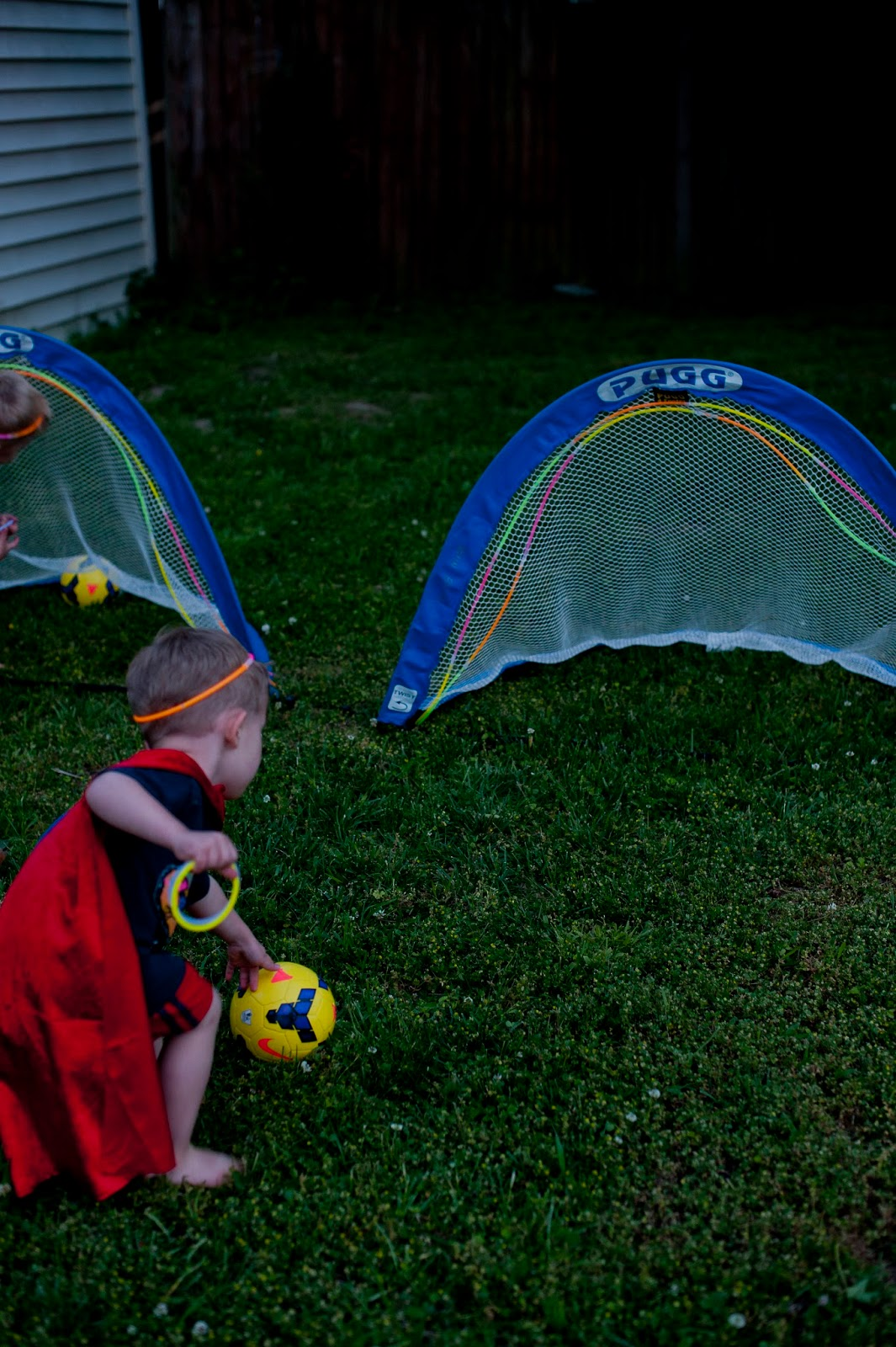 Super Hero Soccer - Fun with Glow Sticks - Soccer Goal