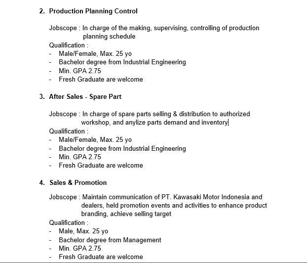 4 Lowongan Kerja PT Kawasaki Motor Indonesia Fresh Graduate
