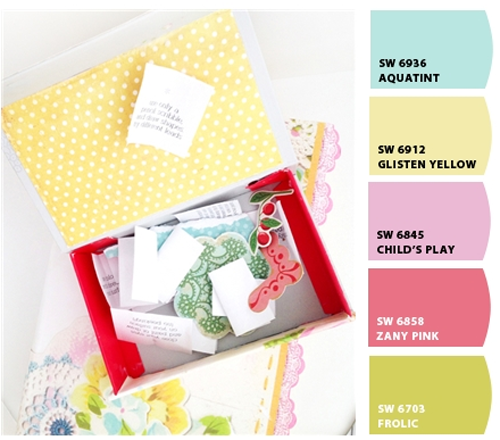 Lets+Chip+It+Color+Palette Decoupage Boxes Using Sweetly Smitten Scrapbook Paper in Spring Colours