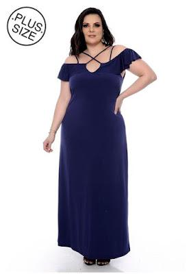 Vestido Plus Size Longo Azul