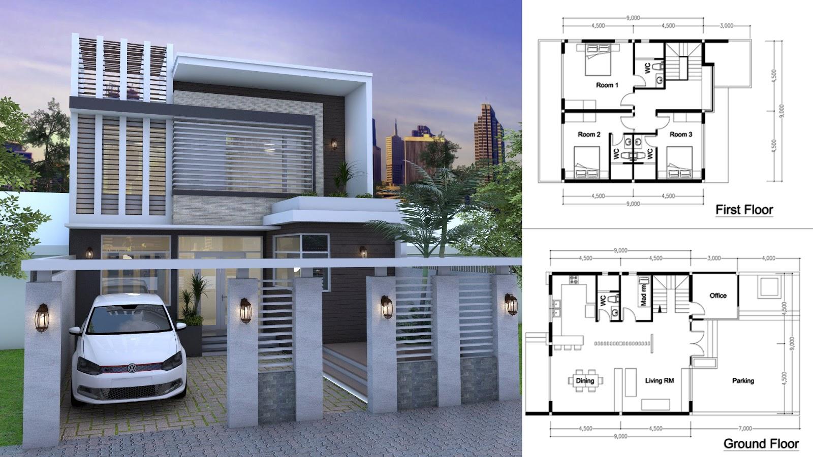 Sketchup 3 bedroom modern home plan 9x9m sam architect for Modern house design sketchup