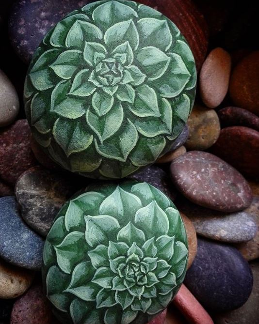 Handpainted sempervivum succulent rock painting idea