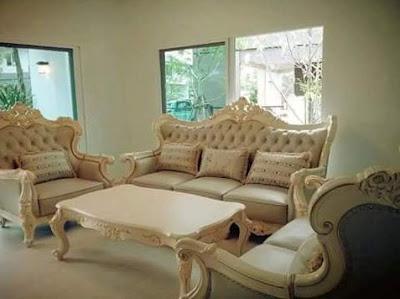 sofa tamu kulit cat duco puih mutiara