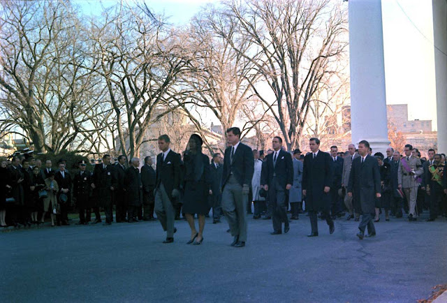 World leaders follow members of the Kennedy family in the funeral procession for the murdered president.