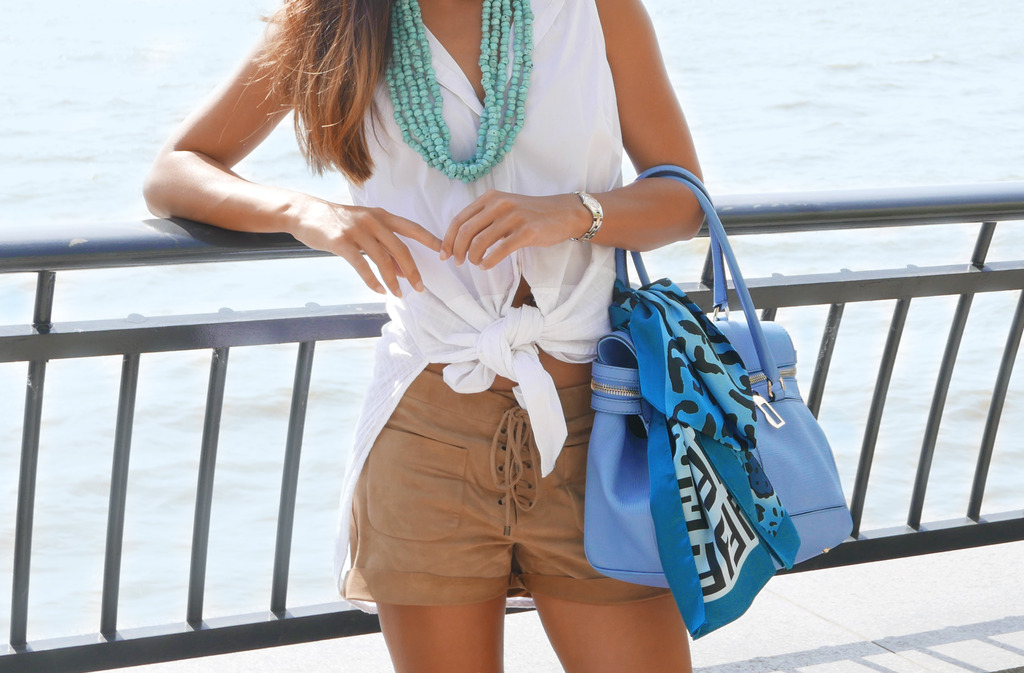 Euriental | fashion & luxury travel | Karen Millen blouse, Chloe suede shorts, Maxmara bag with Fendi scarf