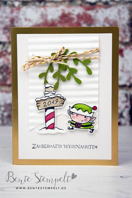 Stampin Up Bente Stempelt Weihnachten christmas Elf Wichtel Weihgnachtswerkstatt Santas Workshop Northpole Nordpol Wegweiser 2019