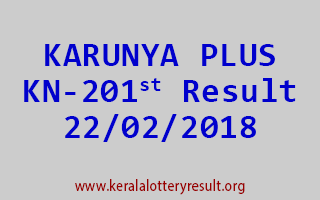 KARUNYA PLUS Lottery KN 201 Results 22-02-2018