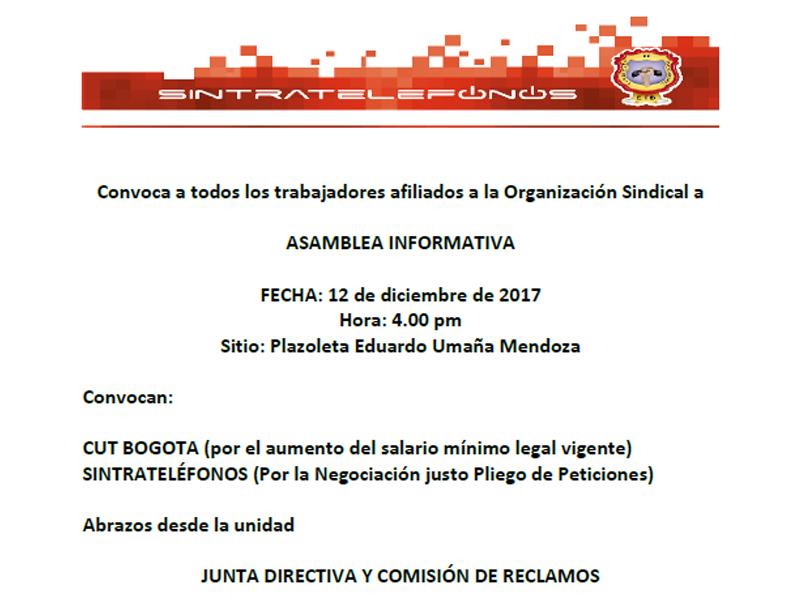 comunicado y convocatoria a Asamblea informativa 12 de diciembre 4:00 pm