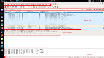 Image shows different types of wireshark menus