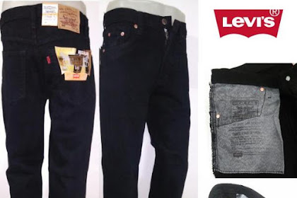 Jual Celana Jeans Pria Reguler Hitam / Size 29 - 38 / Cocok Untuk Kerja