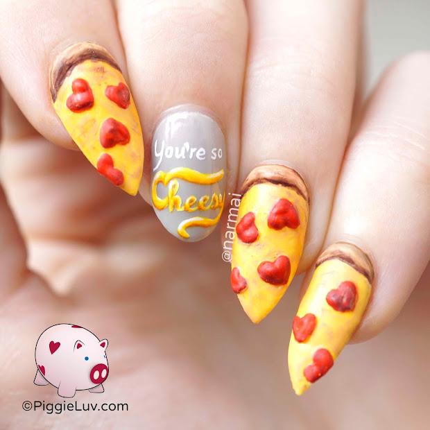 piggieluv pizza nail art valentine's