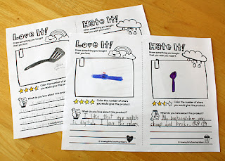 "Tessa chose to draw a watch that she received for Christmas as her ""love it."" She rated it four stars because it's digital and she loves its colors. She had a heck of a time coming up with a ""hate it."" She finally decided on a cheap purple plastic backscratcher she won at a school carnival years ago that snapped in two after just a few scratches. Apparently, she still greatly laments its loss. LOL! She rated it two-and-half stars for its color and styling."