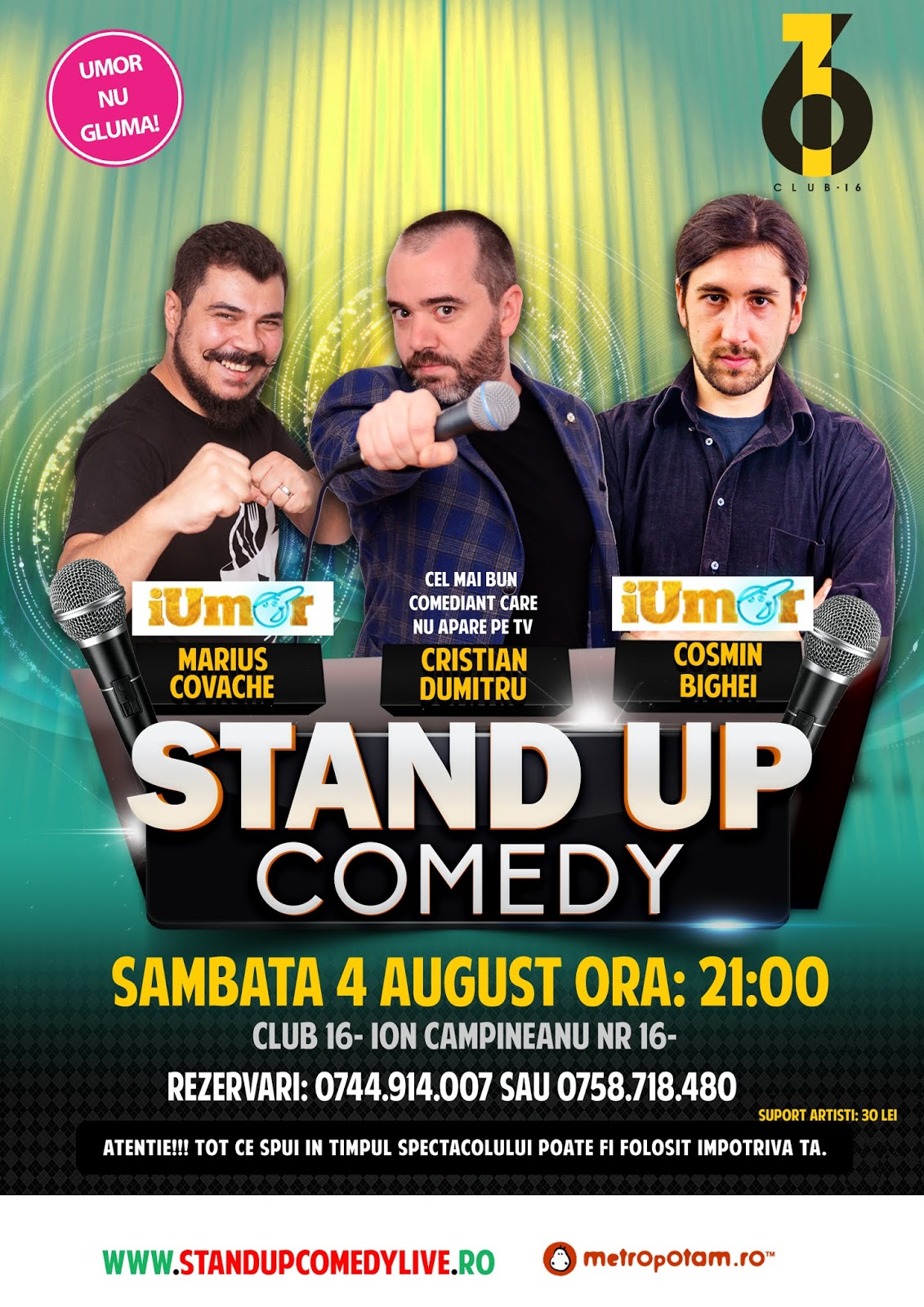 Stand-Up Comedy Bucuresti Sambata 4 August