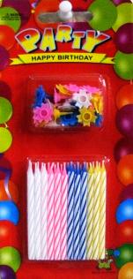 Свечи в торт. 24свечки+24 подставки