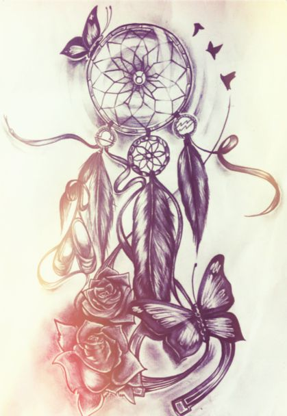 Dreamcatcher Watercolor Tattoo Designs