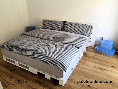 cama matrimonio palets blancos Europalet.com
