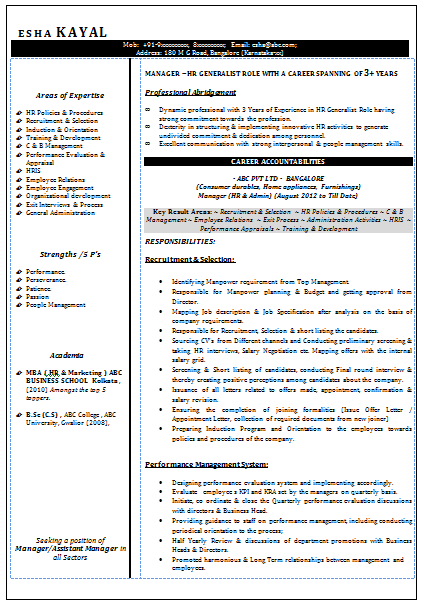 Hr Generalist Job Sample Resume. Sample Hr Resume Sample Resume Hr