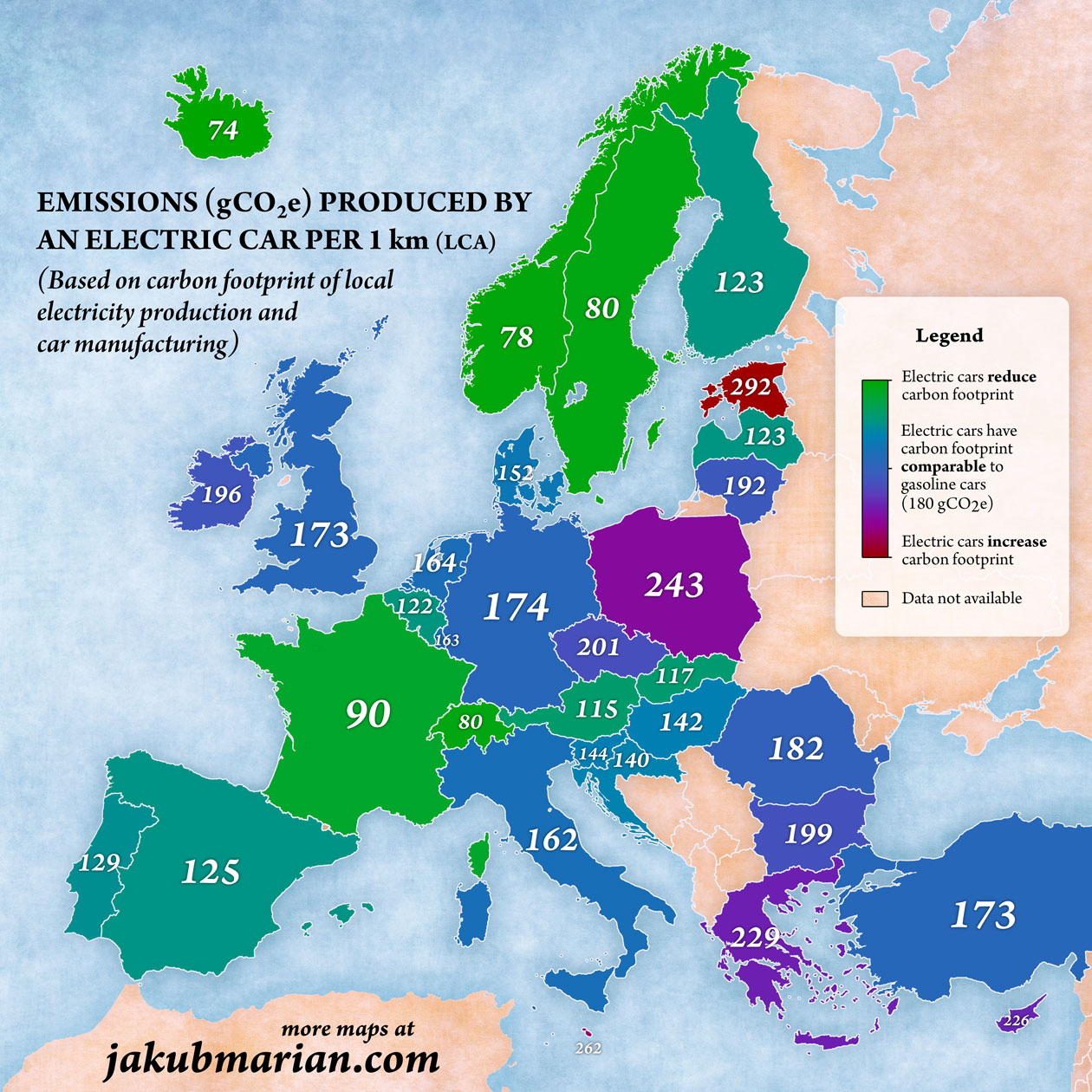 Emissions produced by an electric car per 1 km