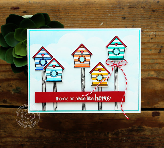 Sunny Studio Stamps: A Bird's Life Striped Birdhouse Village Card by Vanessa Menhorn
