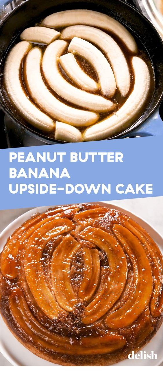 Peanut Butter & Banana Upside-Down Cake
