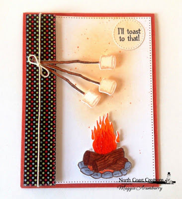 North Coast Creations: S'more Love Stamp and Dies, ODBD Custom Dies: Pierced Rectangles, Pierced Circles, North Coast Creations Paper Collection: Sweet Shoppe