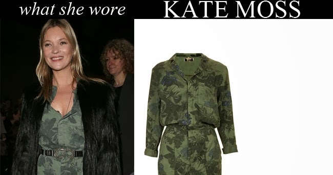 55893ea0659d WHAT SHE WORE  Kate Moss in green khaki camouflage floral print jumpsuit  with black fur jacket and black ankle boots in London on February 16 ~ I  want her ...