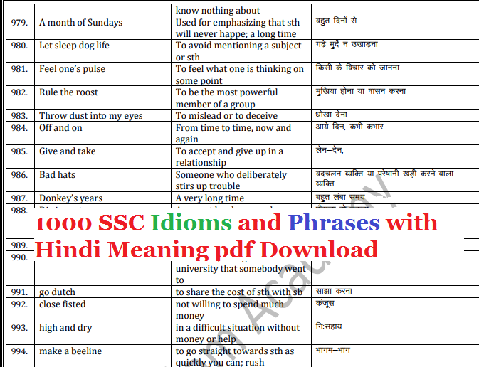 English To Hindi Idioms And Phrases Pdf