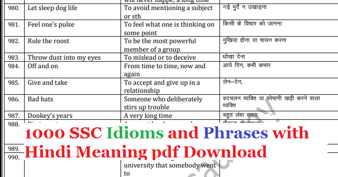 1000 SSC Idioms and Phrases with Hindi Meaning pdf Download