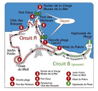 Plan du circuit du petit train touristique de Biarritz