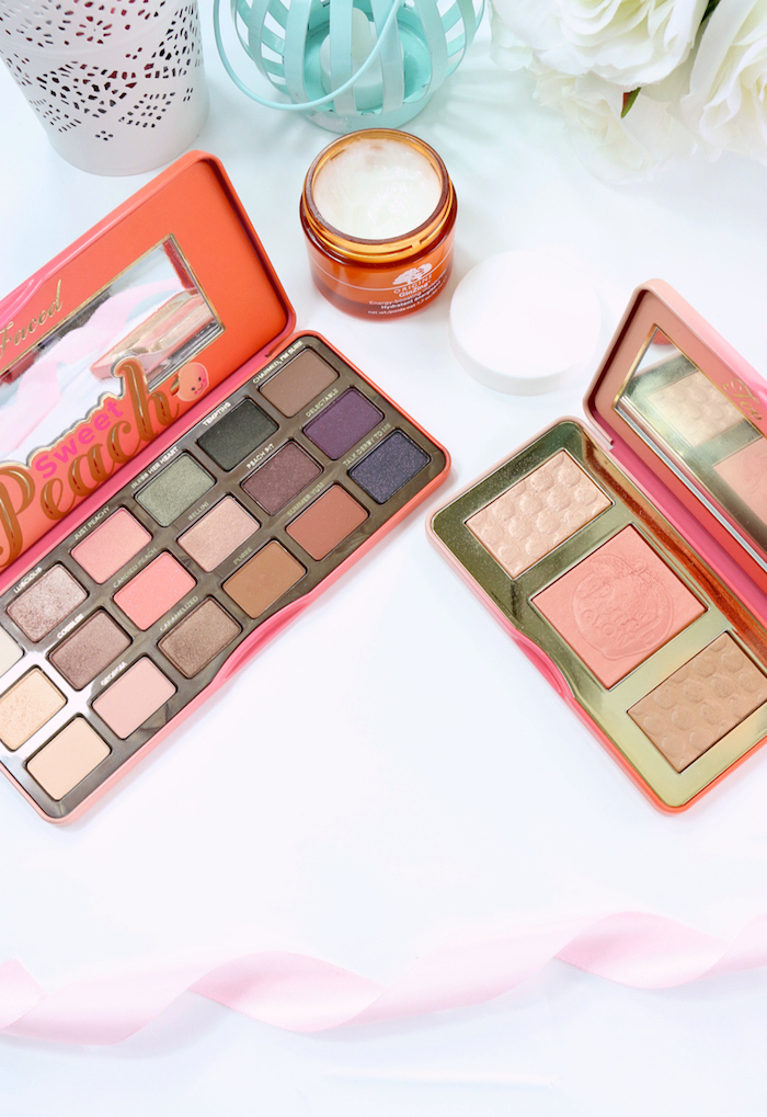 Stepping Into Spring Origins GinZing Moisturiser, Too Faced Sweet Peach Palette, Too Faced Sweet Peach Glow Kit.