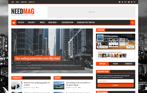 Need Mag  magazine fully responsive blogger template