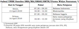 Jadwal UNBK Susulan SMK/MA/SMAK/SMTK/Utama Widya Pasraman