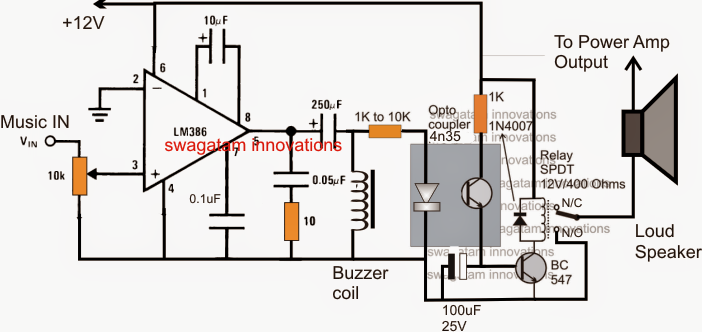 music triggered amplifier speaker circuit