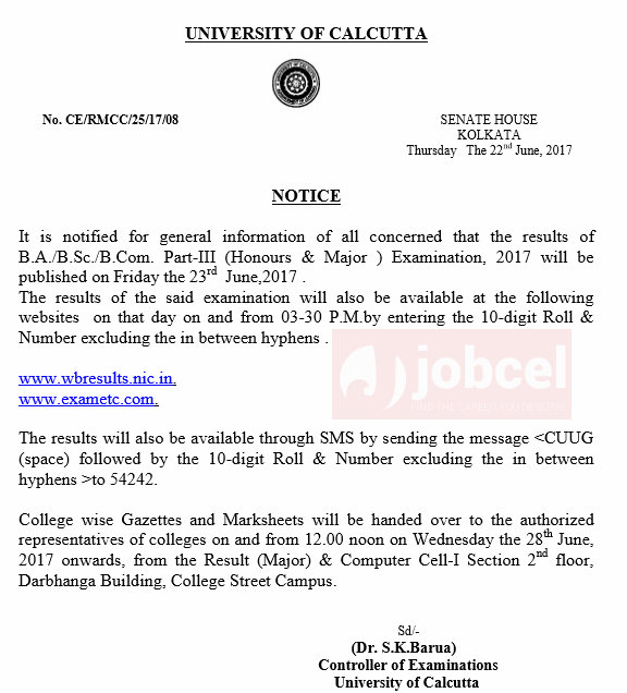 CU EXAM RESULT 2017 FOR BA/BSC/BCOM PART 3